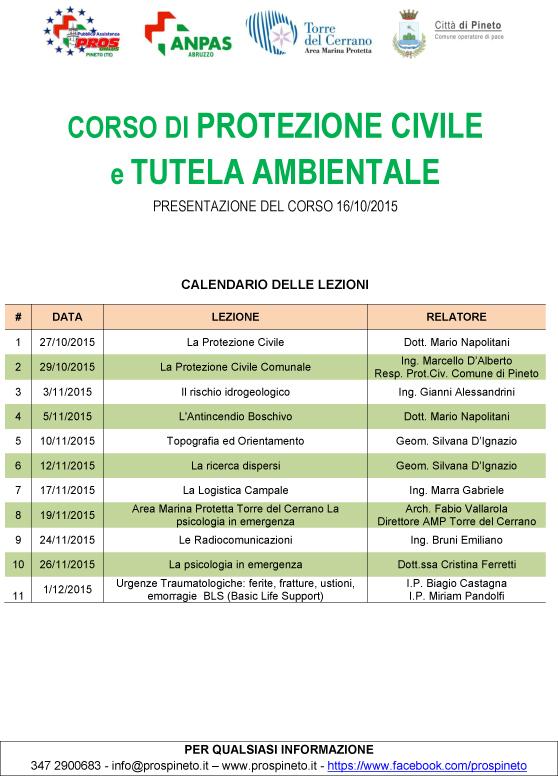 PROTEZIONE CIVILE e TUTELA AMBIENTALE 2015